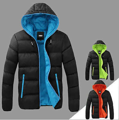 New Men's  Fashion  Cotton Padded Overcoat Contrast  Color Jacket Warm Outwear