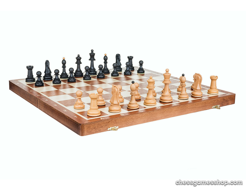 Chess set Dubrovnik Plastic (wood imitation) in wooden Tournament 6 board