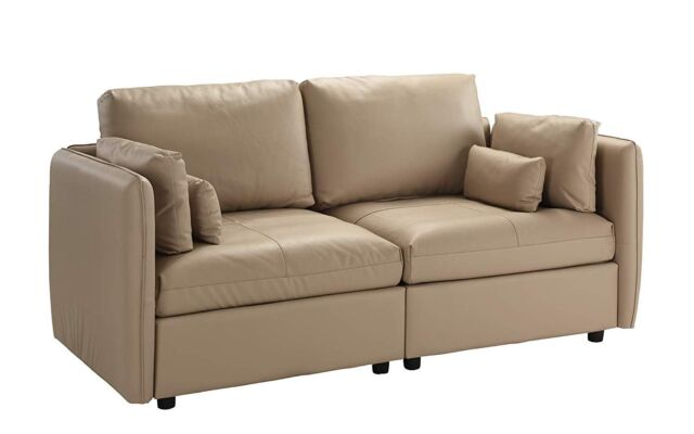 Modern Low Profile Loveseat Sofa Living Room Leather Couch 4 Pillows Beige