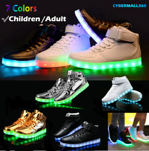 KIDS LED Light Up Shoes Boys Girls Breathable Luminous Sneakers Women Men Shoes