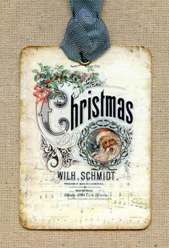 Hang Tags VINTAGE SANTA CLAUS SHEET MUSIC CHRISTMAS TAGS or MAGNET #13 Gift Tags