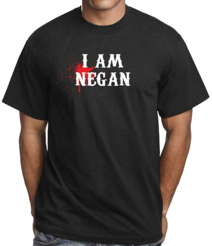 I Am Negan Blood Splat black t shirt all sizes available in store
