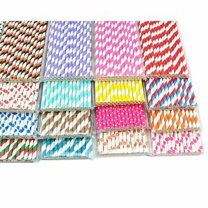 HOT-25-x-STRIPED-PAPER-DRINKING-STRAWS-COLORFUL-STRIPES-DOTS-Stars-Party-Xmas