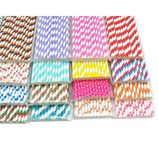 HOT 25 x STRIPED PAPER DRINKING STRAWS COLORFUL STRIPES, DOTS, Stars, Party Xmas