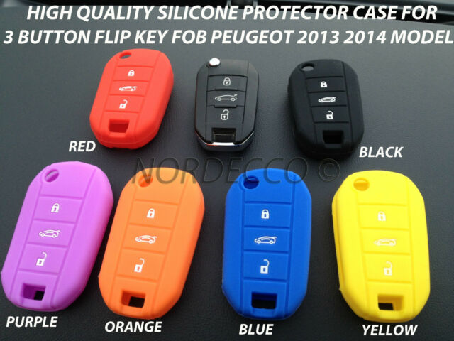 HIGH QUALITY SILICONE 3 BUTTON KEY FOB PROTECTOR CASE PEUGEOT 208 508 2013 2014