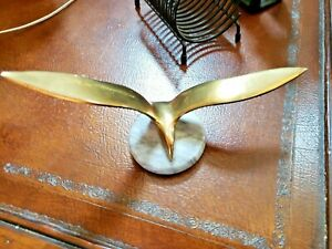 Vintage Mid Century Brass Seagull Paperweight on Marble Base  Nautical  Bird