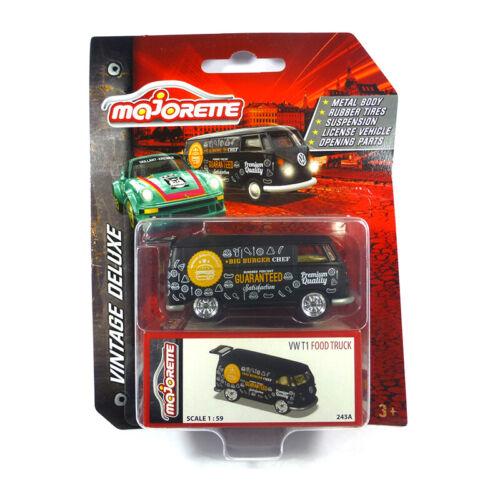 Majorette 212052016 VW T1 Food Truck schwarz Vintage Deluxe Maßstab 1:64 NEU!°