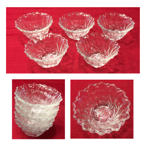 VINTAGE Indiana Glass Dessert Dip Bowls 1-Cup Capacity WILD ROSE Clear 5-PC Set