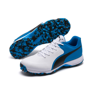 bd4ef36f2642 2019 Puma 19 FH Rubber White Black Blue Cricket Shoes Size UK 8 - 12 ...