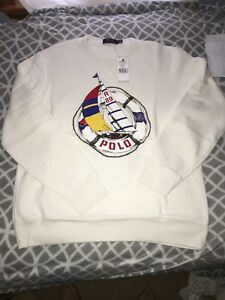 Sweater Polo L White Crewneck Men's Pullover About Details Cp 93 Sailing Ralph Lauren Regatta xBedCo
