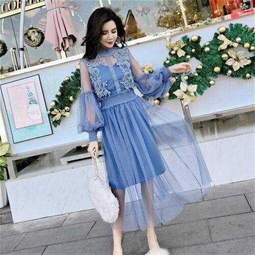 Frauen Spitze Aushöhlung Puffärmel Blumenmuster Kleid Vintage Netz elegant Fee