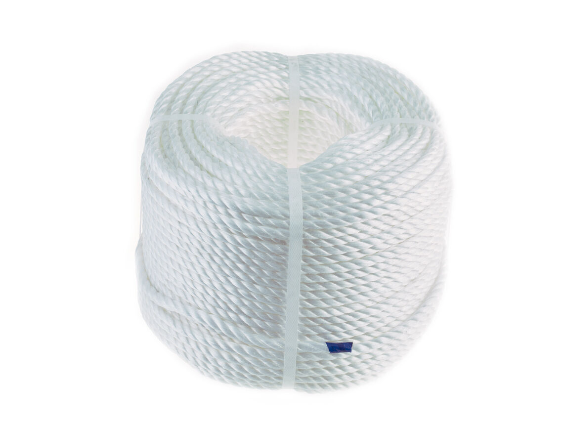 White Polypropylene Rope Coils Polyrope Sailing Agriculture Camping 8mm