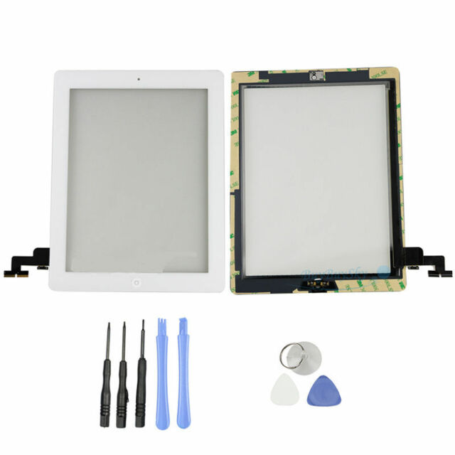 New iPad 2 White Front Glass Touch Sreen Digitizer + Home Button + Tools + Adhsi
