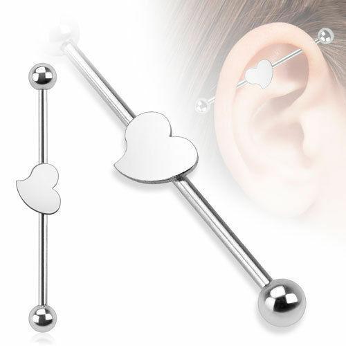 Industrial piercing corazón plata Barbell piercing oreja acero quirúrgico 316l