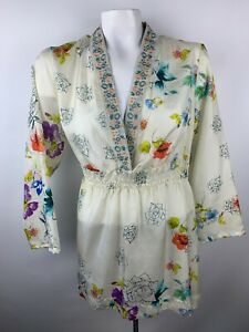 Johnny-Was-Womens-3-4-Sleeve-Floral-Silk-Embroidered-Top-Sz-M-Boho-Flowy-Tunic
