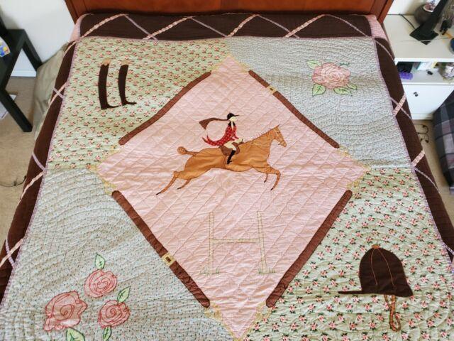 Nod Equestrian Horse Quilt Comforter, Land Of Nod Bedding Girl
