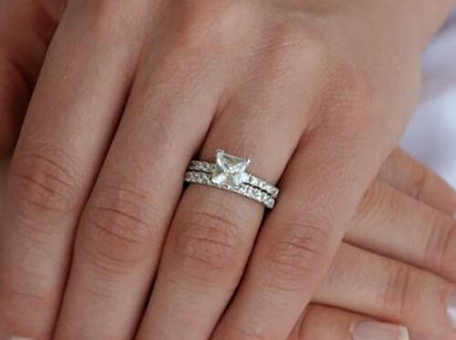 1.70 Ct. Natural Princess Cut Pave Diamond Bridal Engagement Set GIA Certified