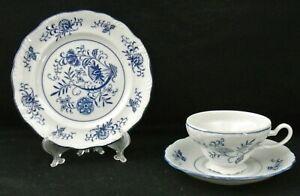 Vintage-Blue-Dresden-Cup-Saucer-Dessert-Plate-1957-Sphinx-Import