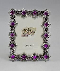 Cadre photo Métal rectangulaire or - violet avec Pierres Occupé NEUF 9987154 pLKWTSfX-09090157-916179142