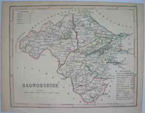 1840s-ENGLISH-COUNTY-MAP-BY-J-ARCHER-RADNORSHIRE-WALES