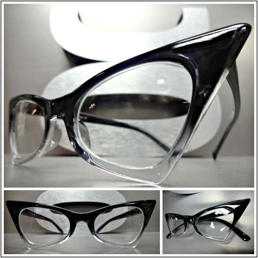 CLASSIC VINTAGE 50s RETRO CAT EYE Style Clear Lens EYE GLASSES Small Black Frame