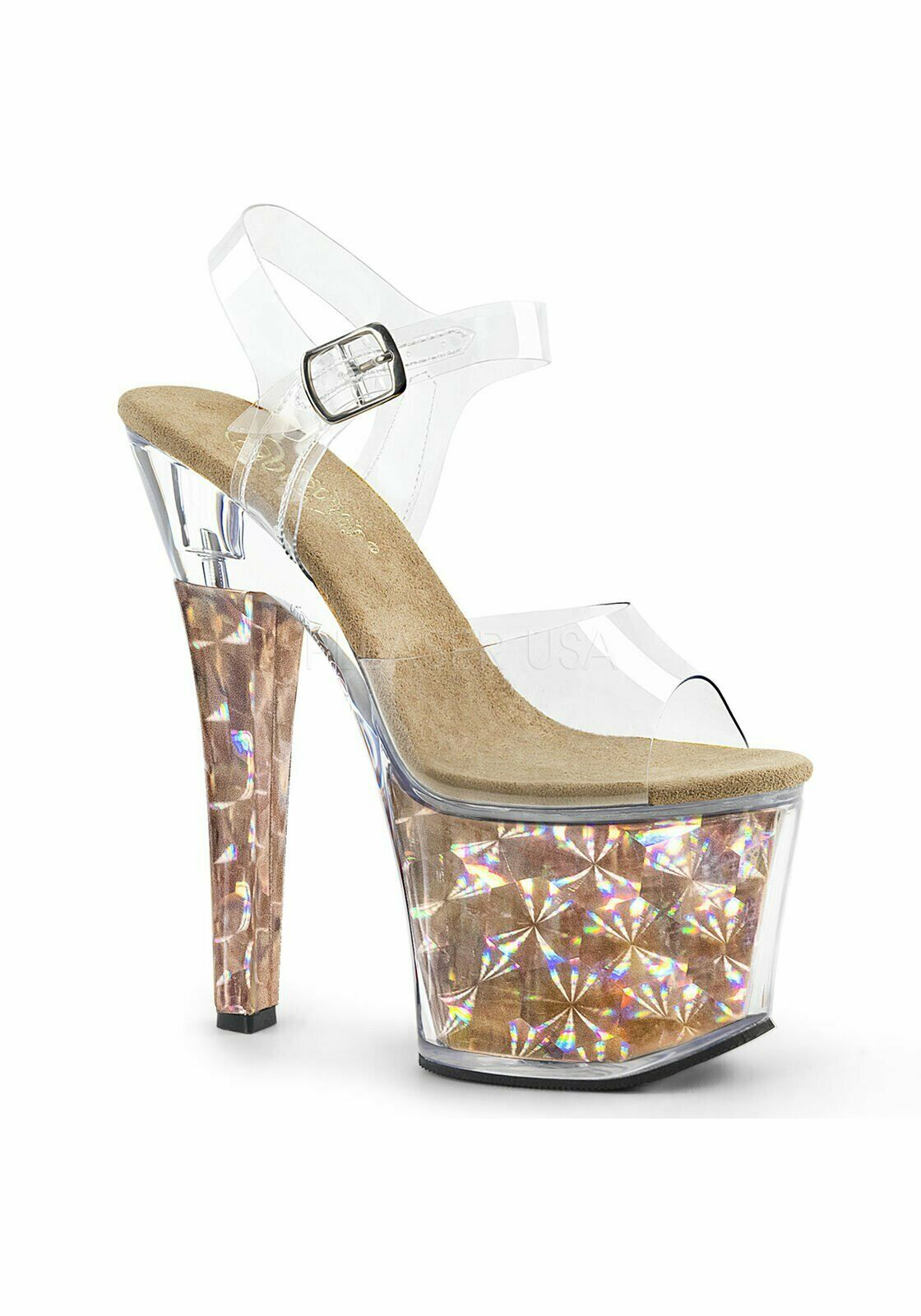 Pleaser RADIANT-708HHG 7 Inch Heel, 3 1 4 Inch Platform Ankle Strap Sandal