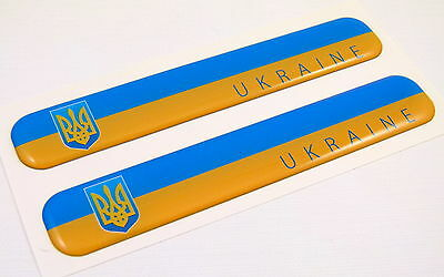 "Ukraine Ukrainian Flag Domed Decal Emblem Resin car auto stickers 5""x 0.82"" 2pc."