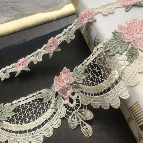 1 Yard Lace Trims Embroidery Flower Ribbon Sewing for Sofa Cushion Curtain Decor