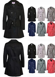 VickySmith-Double-Breasted-Women-039-s-Trench-Mac-Coat-Ladies-Belted-Fashion-Jacket