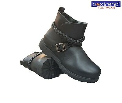 NEW GIRLS BLACK SCHOOL BOOTS ZIP KIDS SLIP ON WINTER HI ANKLE RIDING PARTY MID