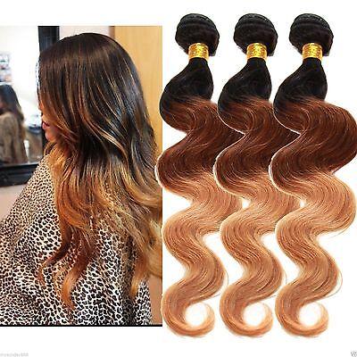 "New 3 Bundles Three Tone Ombre Virgin Brazilian Human Hair Extensions 16""18""20"""