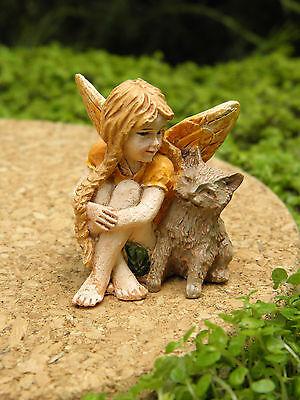 Miniature Dollhouse FAIRY GARDEN ~ Petite Fairy Chloe with Cat ~ NEW