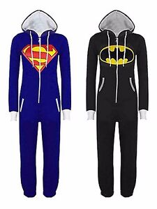 Womens-Mens-Superman-Batman-Cosplay-Playsuit-Ladies-All-In-One-Piece-Jumpsuit