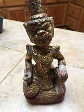 "Burmese gold gilt  figure HANUMAN   10""  TALL WOODEN CARVING TEAK WOOD"