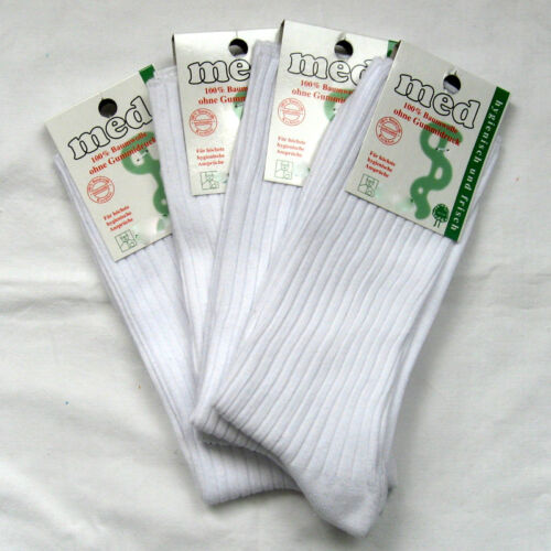 4 Pair Women/'s Socks without Elastic Diabetic Cotton 4//2 Ribbed Weiß 35 Bis 42