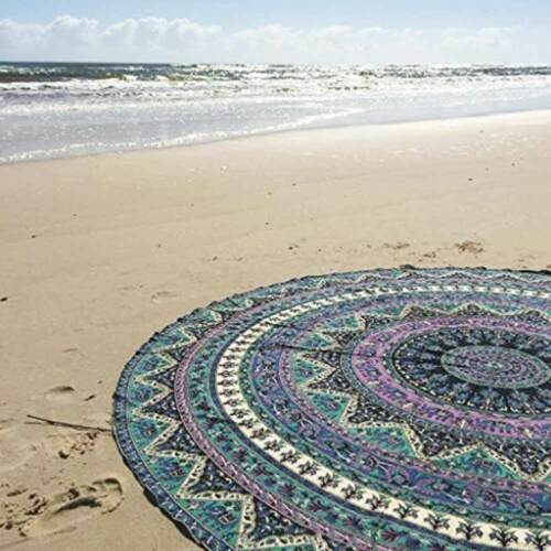 59 inch Large Round Beach Towel Picnic Blanket Tapestry Throw Yoga Mat