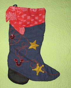 vtg Cowboy boot Christmas stocking denim blue jeans sequin bells
