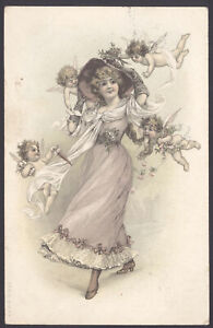 Cherubs-Surround-a-Fashionable-Beauty-1905-Postmarked-Postcard