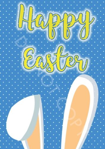 Happy Easter Bunny Ears Poster Print A3//A4  Easter Decoration for Children Kids