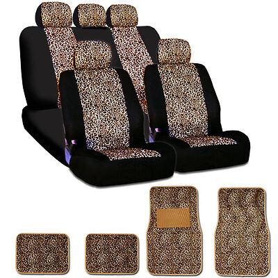New Safari Cheetah Print Universal Car Truck Seat Covers Mats Smart Pocket Set