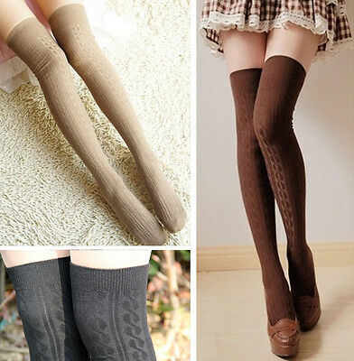 Sexy Womens Girls Opaque Knit Over Knee Thigh High Stockings Long Socks 7 Colors
