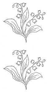 Vintage-Visage-iron-on-embroidery-transfer-Lily-of-the-Valley-flowers-2-sheets