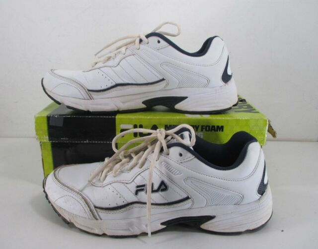 7b76a616af76 Fila Memory Sportland Running Shoes Men s Lace-Up White Navy Silver Size US