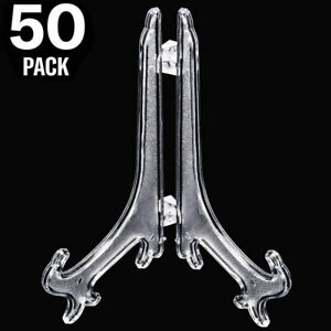 25//50 Pack Plastic Easel Display Stand Plate Holders For Photo Dish Art Home