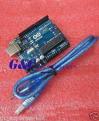 2PCS NEW ATMEGA328P-PU ATMEGA16U2 UNO R3 BOARD FOR ARDUINO +USB Cable M10