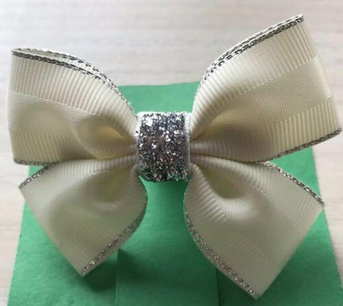 Clasps Clips 2 Girls Ivory//ecru And Silver Handmade Ribbon School Hair Bows