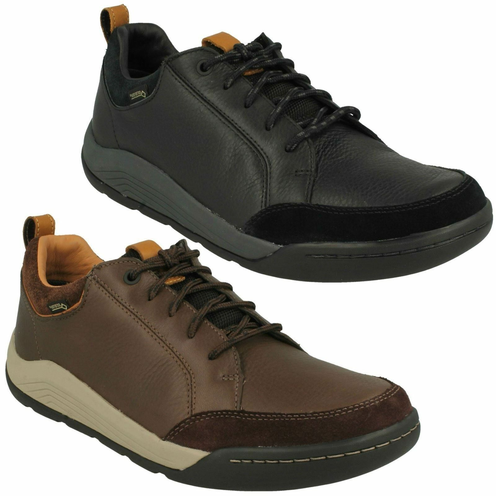 ASHCOMBE BAY GTX MENS CLARKS LEATHER LACE UP CASUAL SHOES GORE TEX TRAINERS SIZE