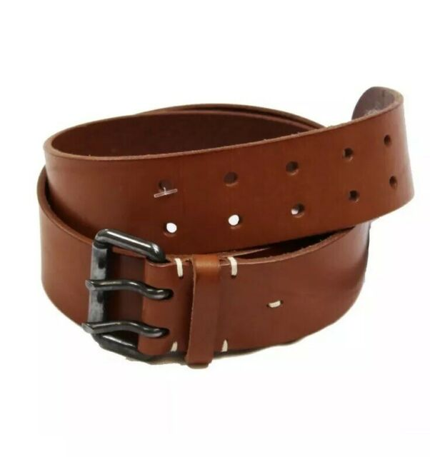 "Harley Davidson Chrome Buckle Genuine Leather Belt Vintage Brown Made in USA 36/"""