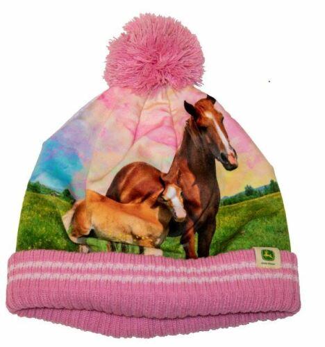 NEW John Deere Toddler Pink Fleece Lined Horse Beanie Stocking Cap LP70709