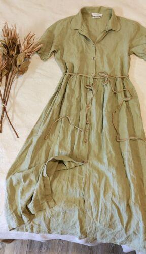 Vintage Zara 100% Linen Dress Cottagecore Lagenloo